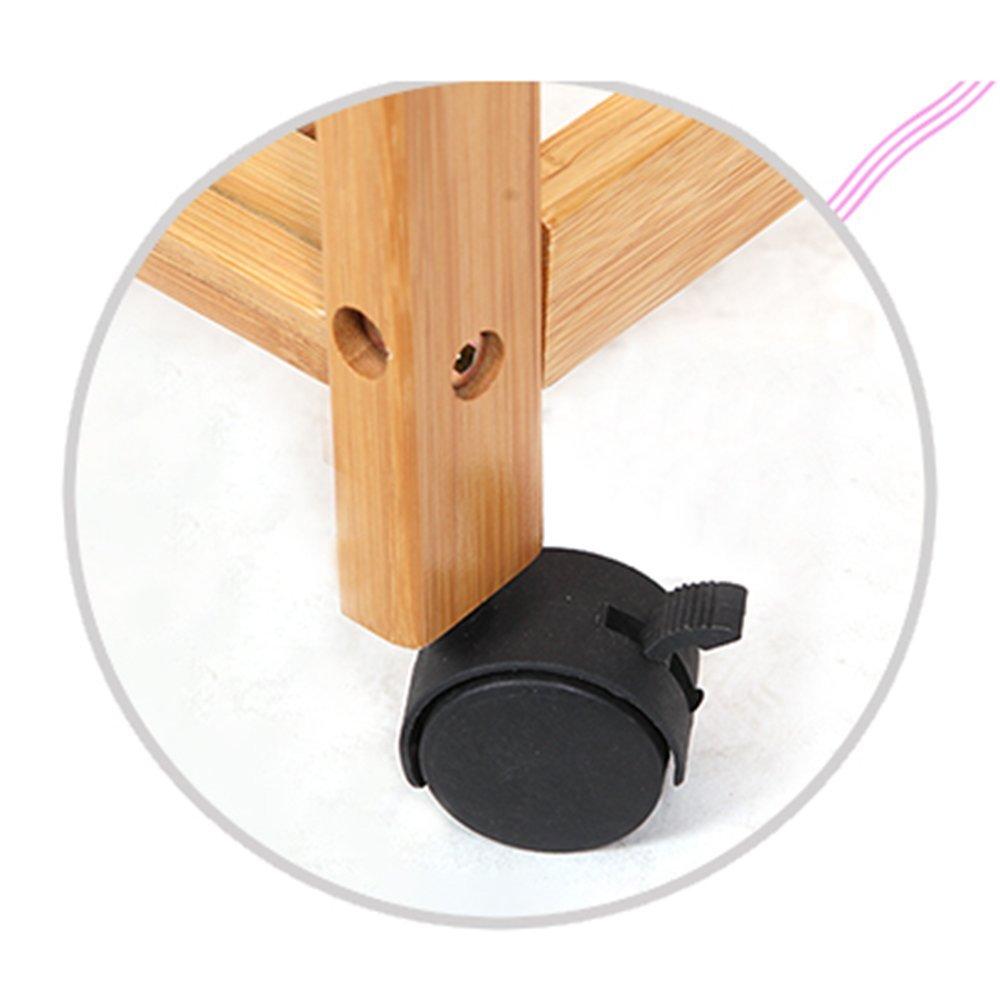 Amazon.com: ZHIRONG - Perchero de madera de bambú con ruedas ...
