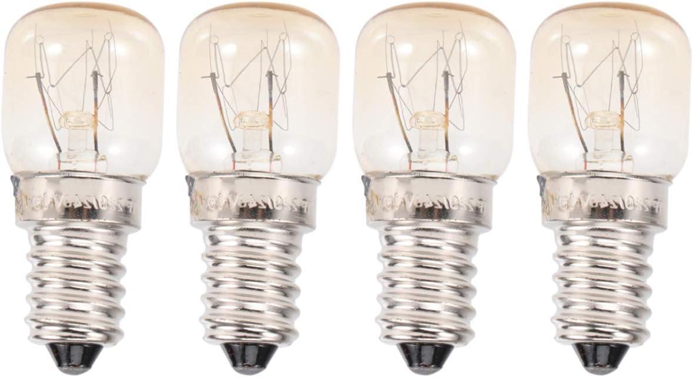 Mobestech 4 piezas 15 W alta temperatura 300 grados Celsius horno tostadora vapor bombillas campana lámpara E14 microondas bombillas