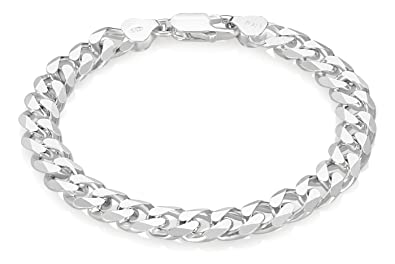 8mm Solid 925 Sterling Silver Beveled Cuban Curb Chain Bracelet