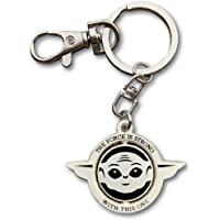 Baby Yoda Keychain 360° Head Spinning Hard Enamel Matte Silver with Extra Snap Hook Inspired by The Child Character The…