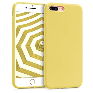 kwmobile Funda para Apple iPhone 7 Plus / 8 Plus - Carcasa para móvil en TPU silicona - Protector trasero en amarillo mate