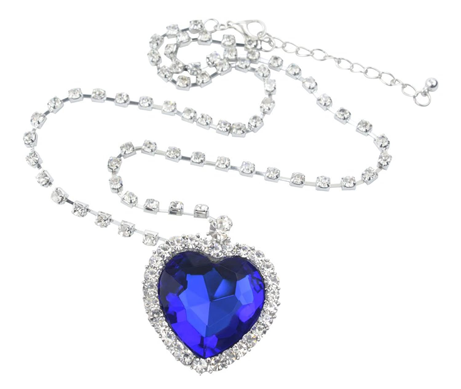 Wma blue heart of ocean titanic crystal necklace pendant with wma blue heart of ocean titanic crystal necklace pendant with chain perfect gift amazon jewellery aloadofball Image collections