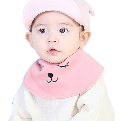 originaltree toalla de saliva baberos recién nacido algodón suave dibujos animados oso para bebé Niños rosa