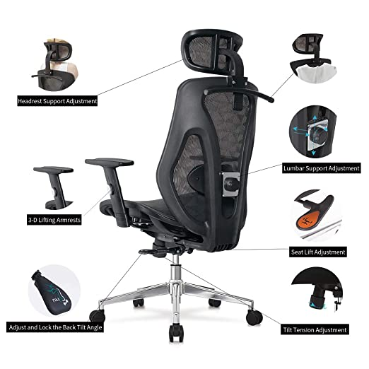 AllGuest AG-8015MH - Silla de Oficina ergonómica Ajustable ...