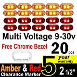 """10 Pcs Amber + 10 Pce Red TMH 2.5"""" Inch Surface Mount LED Clearance Markers, side marker lights, led marker lights, trailer marker light, Fender Light + FREE CHROME BEZEL"""