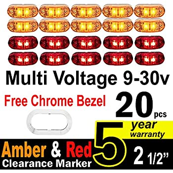 "10 Pcs Amber + 10 Pce Red TMH 2.5"" Inch Surface Mount LED Clearance Markers, side marker lights, led marker lights, trailer marker light, Fender Light + FREE CHROME BEZEL"