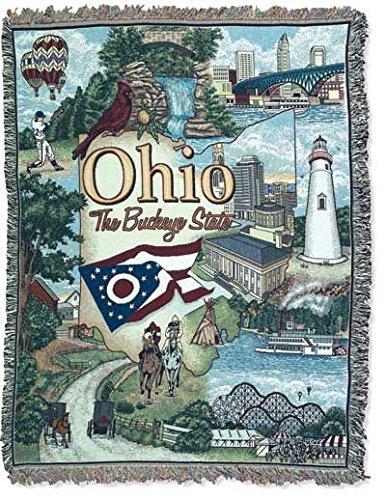 オハイオ州の状態mid-sizeデラックスTapestry Throw Blanket USA Made B01BNXV916