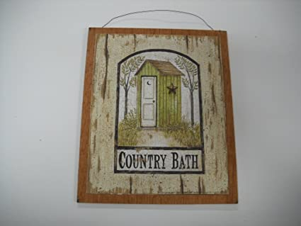 Country Bath Outhouse Sign Wooden Bathroom Wall Signs