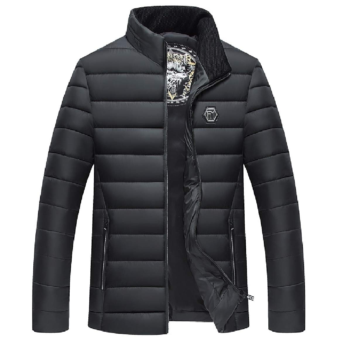 Abetteric Men Stand Collar Oversized Pockets Zip Plus-Size Puffer Jacket