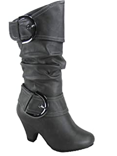 81fb9ee00d6b Lucky Top Auto-9k Girl's Kid's Cute Round Toe Buckle Dress Side Zipper Low  Heel