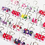 24 PCS Large Size 47mm Printed Metal Binder Clips Paper Clip Clamp Office School Binding Supplies