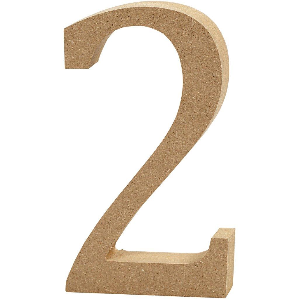 Number, H: 8 cm, MDF, 2, 1pc Creativ Company