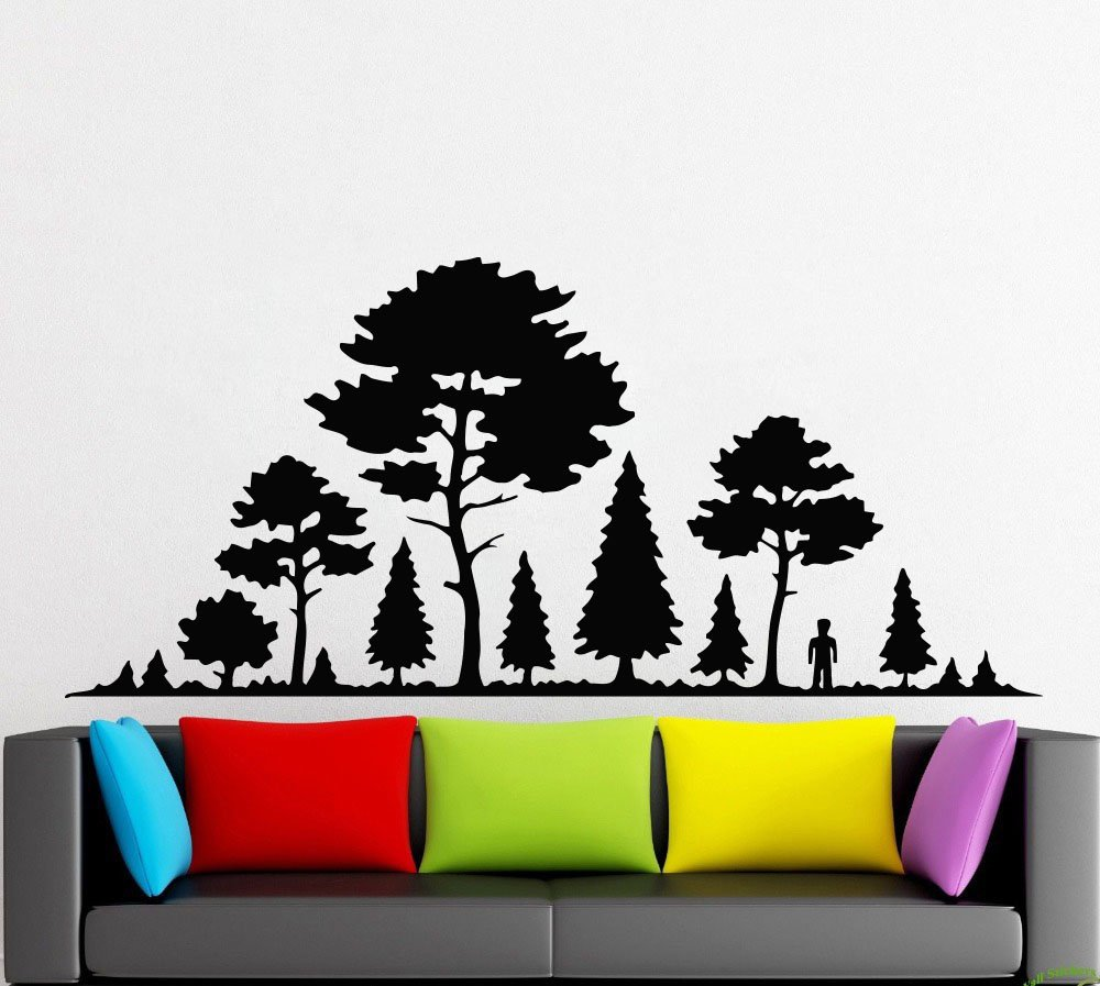 Amazon com tree wallnaturetree trunkbranchleafbirdssprucepinelarchbirchwall decorwall decalwindow stickervinyl sticker handmade 1248 handmade