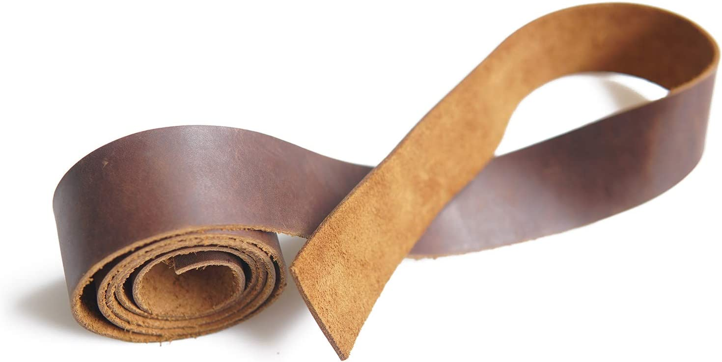 Cowhide 2.0mm Thich Leather Strap 1.5 inch Wide 50 inches Long Strips for Crafting Arts Handmade