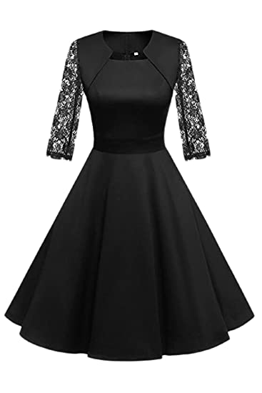 Women A Line Dresses 3 4 Sleeve Fit And Flare Midi Dress At Amazon