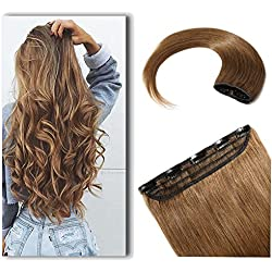 "100% Real Hair Extensions Clip in Remy Human Hair 16"" 50g One-piece 5 Clips Long Straight Hair Extensions for Women Gift Wide Weft Soft Silky #6 Light Brown"