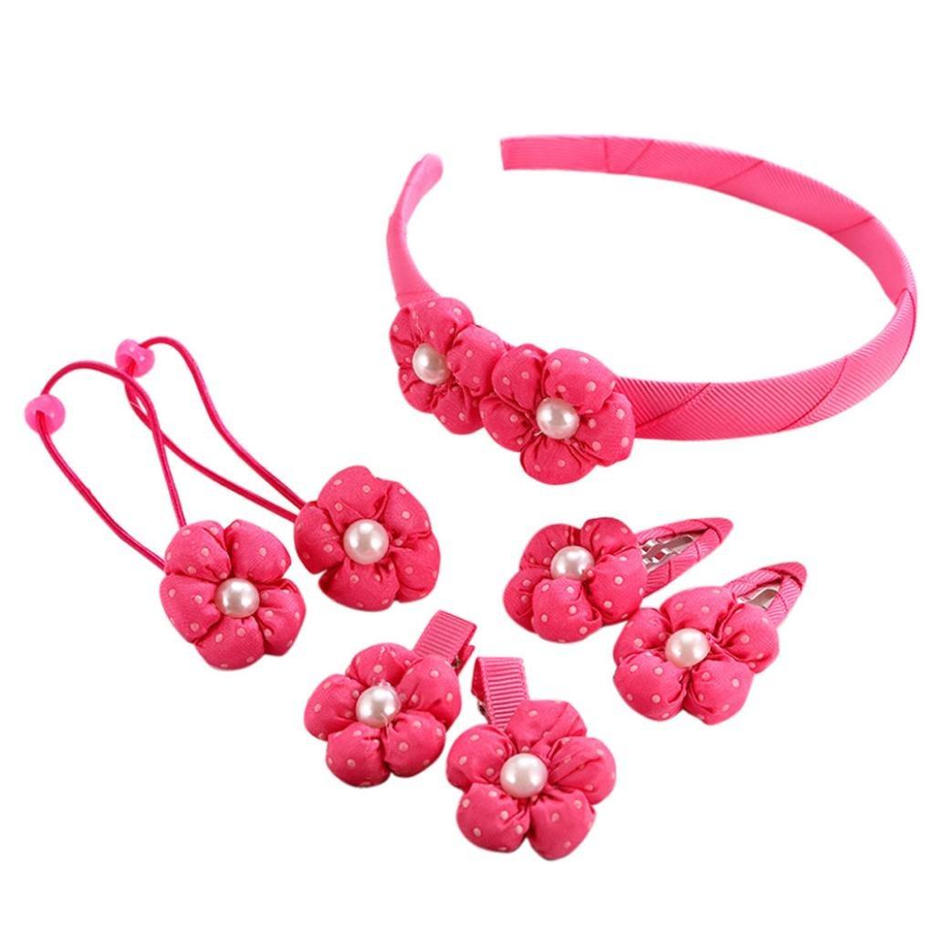 IGEMY Kinder Perle mit Blume Geformt Haarnadel, Baby Mädchen Volltonfarbe Haarspange Set 7Pcs