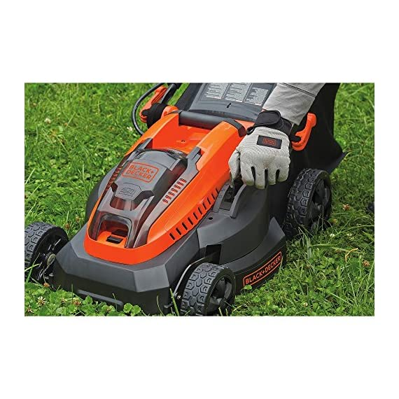 "BLACK+DECKER 40V MAX Cordless Lawn Mower, 16-Inch (CM1640) 2 Height Adjust- 6 settings, with a height of cut between 1-1/10"" and 3-1/10"" Includes (2) 40V Max Lithium Batteries Folding handles for easy & convenient storage"