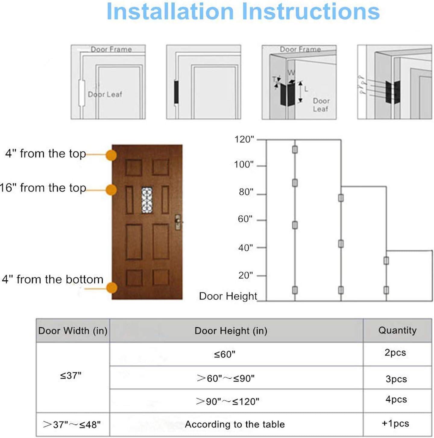 Ruesious 4 pcs en acier inoxydable meubles de maison mat/ériel Charni/ère de porte Long 100cm
