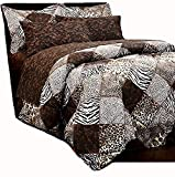 Martha's Mixed Bag Safari Animal Print Brown Patchwork Comforter Set with Sheets Jaguar Leopard Zebra (8pc Full Size 76'' x 86'')