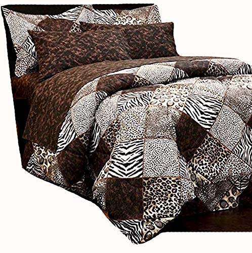 Martha's Mixed Bag Safari Animal Print Brown Patchwork Comforter Set with Sheets Jaguar Leopard Zebra (8pc Full Size 76