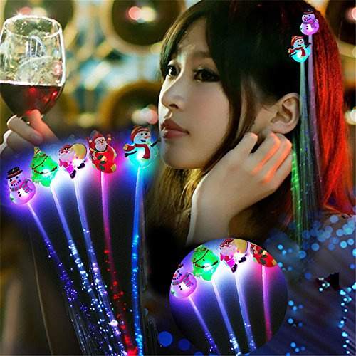Euone LED Braided , Christmas LED Light-Emitting Fiber Optic Wire Hairpin Luminous Airpin Silk Braids