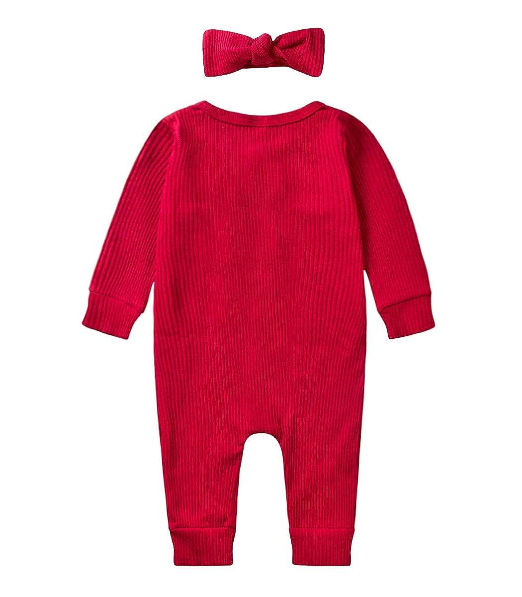 MetCuento Newborn Baby Girls Romper Headband Solid Color Cotton One Piece Pajamas Sleeper 0-18 Months