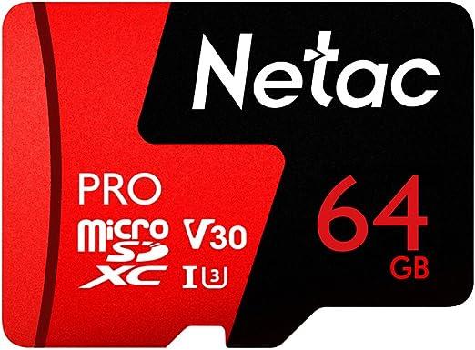 Netac 64 GB Pro Micro SDXC TF Tarjeta de Memoria Almacenamiento de Datos V30 / UHS-I U3 de alta Velocidad Hasta 98 MB / s