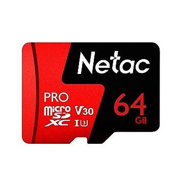 Netac 64 GB Pro Micro SDXC TF Tarjeta de Memoria Almacenamiento de Datos V30 / UHS-I U3 de Alta Velocidad hasta 98 MB/s