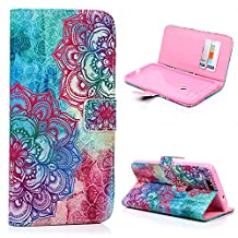 Google Nexus 6P Wallet Case - Mavis's Diary® Premium Leather with Card Holders Magnetic Clip Flip Cover Stand Case for Huawei Google Nexus 6P (2015) (Colorful Totem Flower)