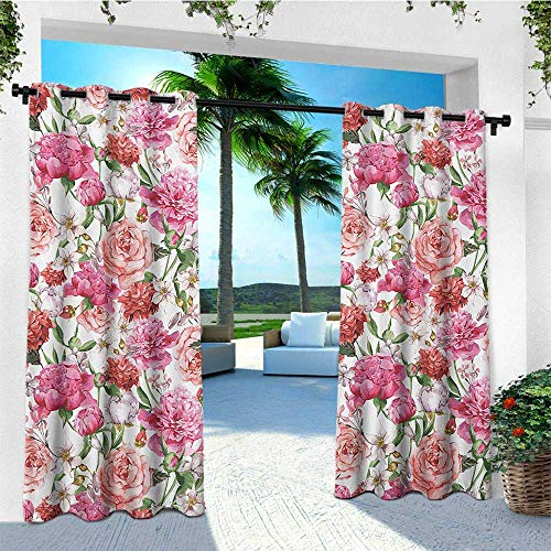 leinuoyi Watercolor Flower, Outdoor Curtain Modern, Victorian Floral Pattern Painting Style Print with Peonies and Roses, for Gazebo W72 x L108 Inch Pink Red White