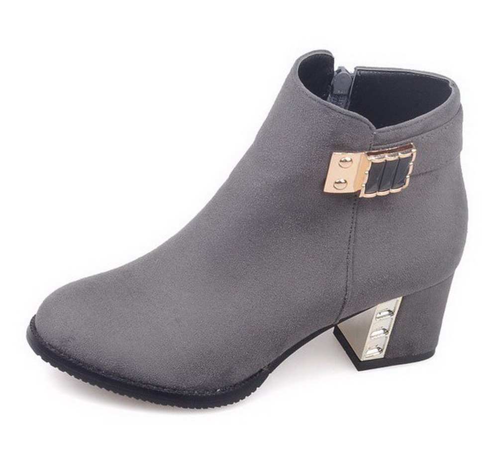 VogueZone009 Women's Frosted Zipper Round Closed Toe Kitten-Heels Low-Top Boots, Gray, 40