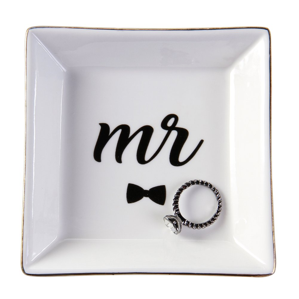 HomeSmile Ceramic Mr Ring Dish Decorative Trinket Plate for Engagment Wedding Gifts for Newlyweds and Bridegroom