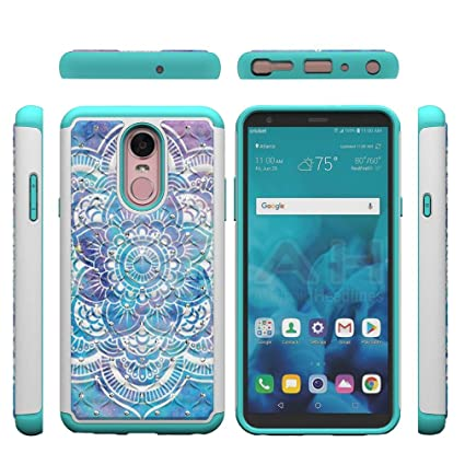 Lg Stylo 4/Lg Q Stylus Case,Durable Anti Sliding 2 in 1 Hybrid Case Back Cover Hard PC with Creative Pattern & Point Drill Inner Soft TPU Bumper Case ...