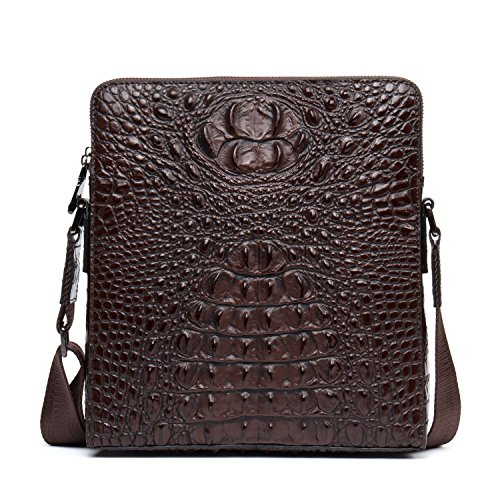 Genuine Leather Crossbody Bag for Men Alligator Pattern Zip Closure Casual Messenger Bag Shoulder Bag 206-1 (Brown)