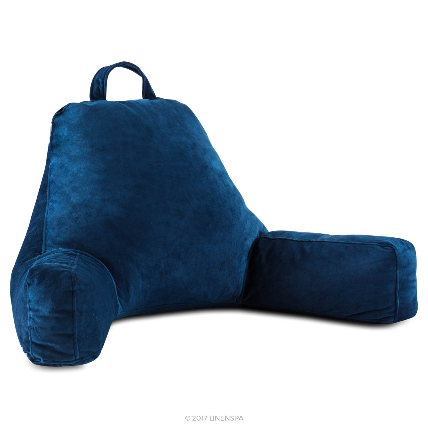 Linenspa Reading Pillow - Large Design for Adults - Shredded Memory Foam Blend Fill - Great Support for Reading, Relaxing, Watching TV - Soft Velour Cover - Extra Large - Navy Blue