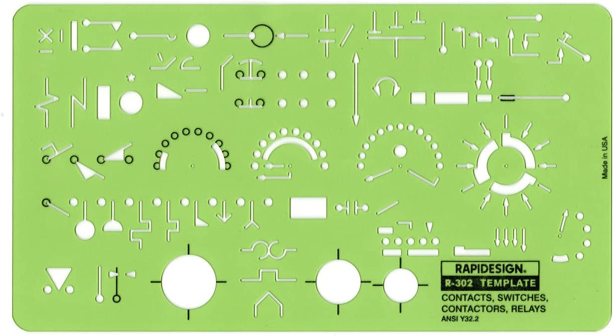 Rapidesign Contacts/Switches/Contactors/Relays Template, 1 Each (R302)