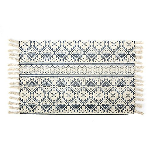 Cotton Printed Rug, Seavish Decorative Tribal Blue with Tassels Kilim Rug Hand Woven Rag Rug Entryway Thin Throw Mat with Non Slip Pad for Laundry Room Bedroom Dorm, 24''W x 36''L