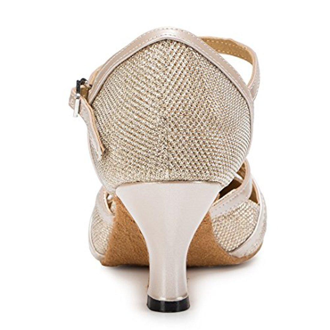 TDA Womens T-strap Glitter Synthetic Salsa Tango Ballroom Latin Party Dance Shoes CM101 B01A9T3H2E 6 B(M) US|6cm Champagne