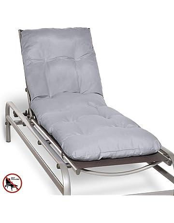 Beautissu Cojín colchón Flair RL Acolchado para Tumbona de jardín y Playa 190x60x8cm Copos de gomaespuma