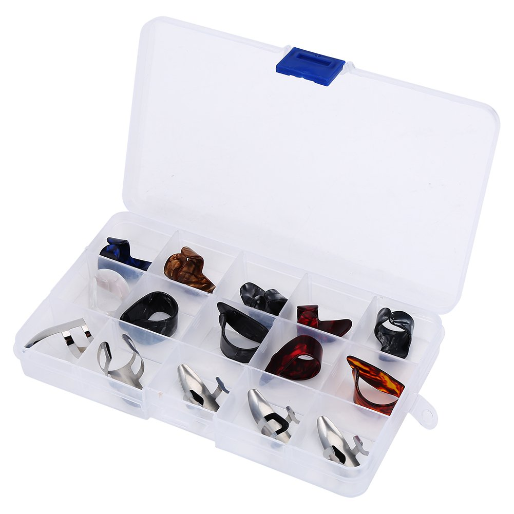 15 Pcs Guitar Finger Picks, Finger Protector Set with Storage Box for String Instrument VGEBY VGEBYaty718zp50