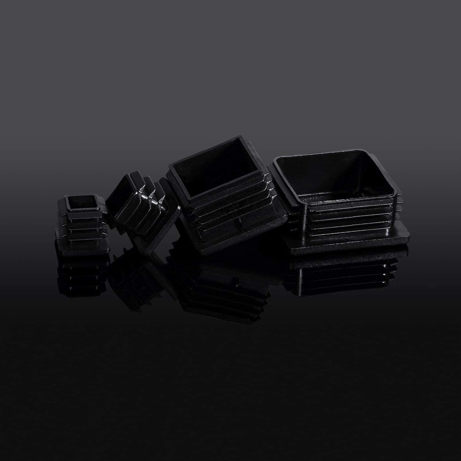 4, 50 mm// 2 Inch Square Plastic Plugs Tubing End Caps Black Plastic Square Plugs Tubing Post End Cap for Square Tubing Chair Glide Inserts