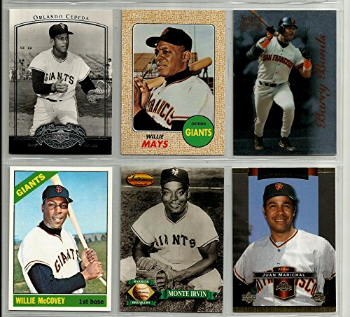 1993 Barry Bonds (Giants Superstar Baseball Card Lot (6) Willie Mays 1968 Reprint Orlando Cepeda 2005 Upper Deck Willie McCovey 1966 Reprint Monte Irvin 1993 Ted Williams Card Co. Juan Marichal 2003 Upper Deck Barry Bonds 1996 Pinnacle )