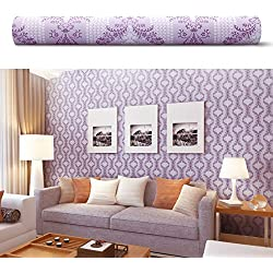 SimpleLife4U 10 Meter Vintage Purple Damask Wallpaper Removable for Bedroom TV Backdrop Wall Decor Valentine's Day Gift