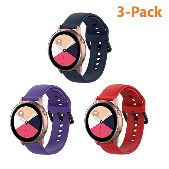 Compatible with Samsung Galaxy Watch Active Band/Galaxy Watch 42mm/Gear Sports Band Set, Silicone Wristband Compatible with Galaxy Watch Active Band ...