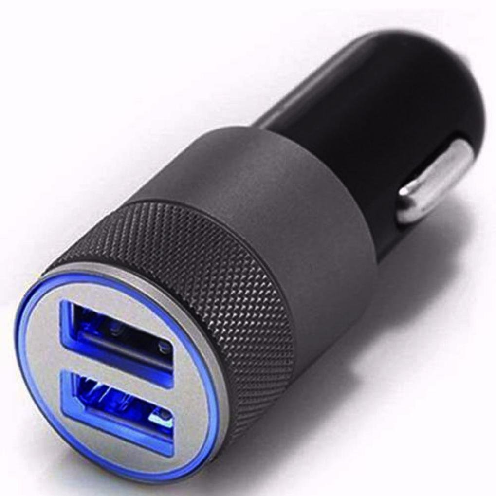 Jintime Universal en Adaptador de Coche Enchufe Mini Dual USB 2.1A/24W 2 Puerto 12V Encendedor de Coche Cargador Rápido para Iphone/Samsung