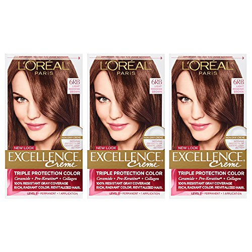 Red Permanent Light (L'Oreal Paris Excellence Creme, 6RB Light Red Brown (Packaging May Vary))