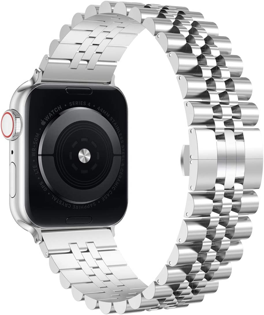 Wolait Compatible with Apple Watch Band 44mm 42mm 40mm 38mm, Stainless Steel Heavy Band with Butterfly Folding Clasp Link Bracelet for iWatch Series 6/SE Series 5/4/3/2/1 (Silver,44mm/42mm)