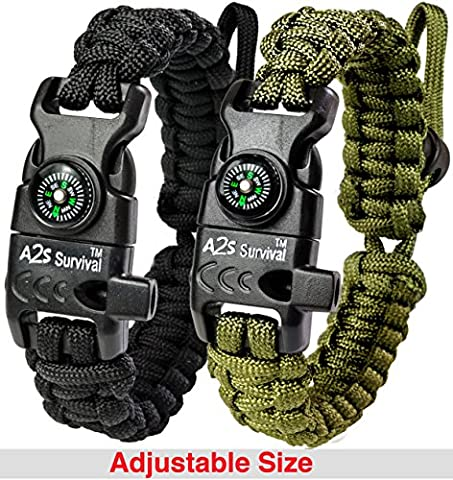 A2S Paracord Bracelet K2-Peak – Survival Gear Kit with Embedded Compass, Fire Starter, Emergency Knife & Whistle – Pack of 2 - Slim Buckle Design (Black / Green Adjustable - Outdoor Gear