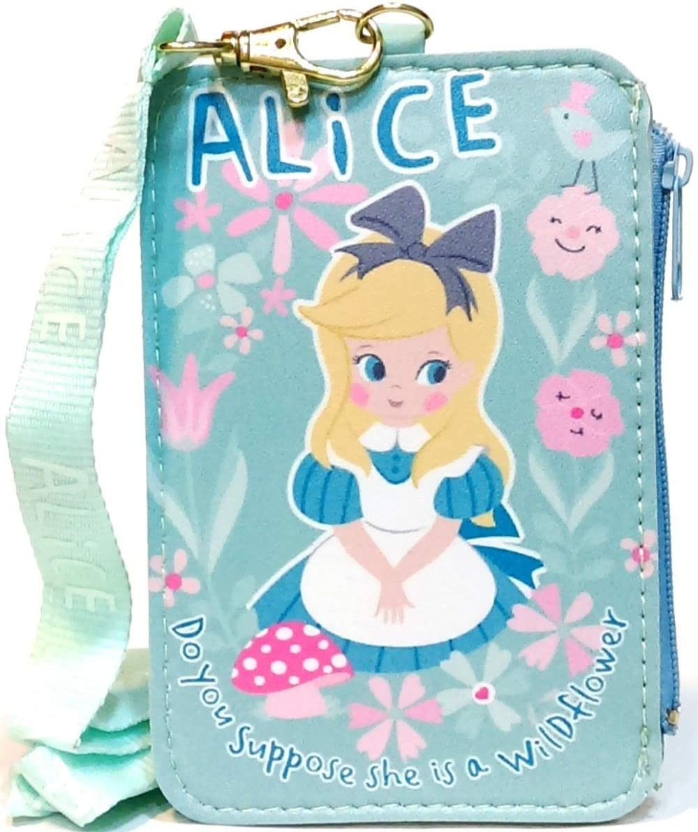 Alice in Wonderland Vertical Pass Case with Zipper Pocket ID Credit Card Badge Holder Lanyard Pouch